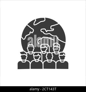 Overpopulation planet black glyph icon. Social problem concept. Sign for web page, mobile app, banner, social media - Stock Photo