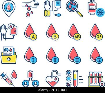 Blood transfusion color line icons set. Donation concept. Medical examination. Pictogram for web, mobile app, promo. - Stock Photo