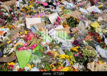 Washington DC,September 20 2020 USA: An overpowering scent of flowers fills the air at the Supreme Court building in Washington DC, where thousands of