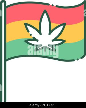 Rastafari flag with cannabis color line icon. Leaf marijuana sign. Pictogram for web page, mobile app, promo. - Stock Photo