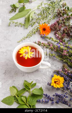 Cup of herbal tea with calendula, lavender, oregano, hyssop, mint and lemon balm on a gray concrete background. Morninig, spring, healthy drink concep - Stock Photo