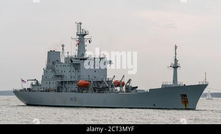 The Royal Navy survey ship HMS Scott (H131) making a rare visit to Portsmouth, UK on the 19th September 2020 for a crew changeover. - Stock Photo