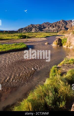 River near San Juan, in the San Juan Province of Argentina, South America - Stock Photo