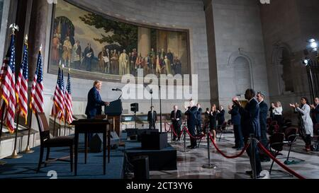 WASHINGTON DC, USA - 17 September 2020 - US president Donald J. Trump signs the Constitution Day, Citizenship Day, and Constitution Week 2020 Proclama