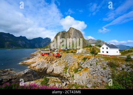 Panorama view mountain and sea at Hamnoy village, Lofoten, Norway