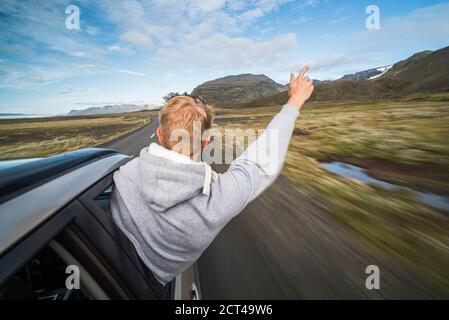 Driving on Route 1 in South Region of Iceland (Sudurland), Europe