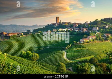 Barbaresco village and Langhe vineyards, Unesco Site, Piedmont, Northern Italy Europe.