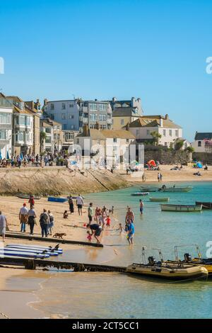 St Ives summer beach, view in summer of the beach in the harbour area of St Ives, Cornwall, south west England, UK