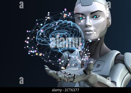 Robot with artificial intelligence. 3D illustration - Stock Photo