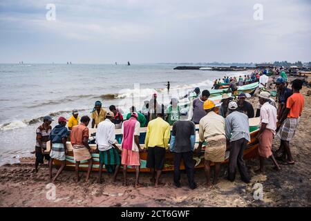 Fishermen bringing in their fishing boats in Negombo fish market (Lellama fish market), Negombo, West Coast of Sri Lanka, Asia - Stock Photo