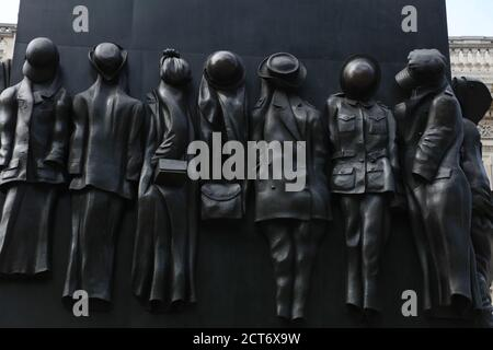 Close up of War Monument  honoring the role women played during the Second World War is seen on Whitehall, London, UK.
