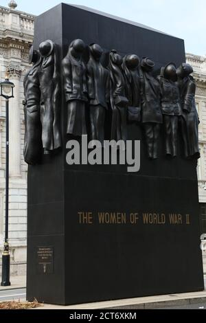 War Monument  honoring the role women played during the Second World War is seen on Whitehall, London, UK.