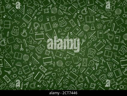 School education seamless pattern. Education symbols sketch backdrop with school supplies. Back to school icons doodle line art notebook background. - Stock Photo