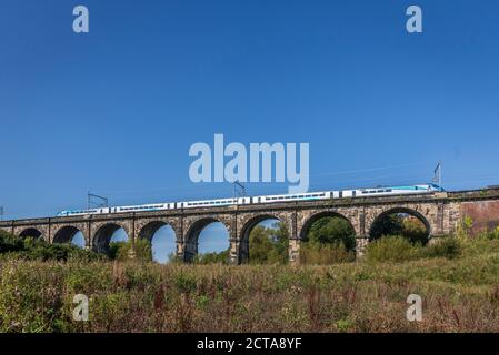 The Sankey viaduct in Sankey Valley park at Earlestown. It is the earliest major railway viaduct in the world. The park is a linear country park that Stock Photo