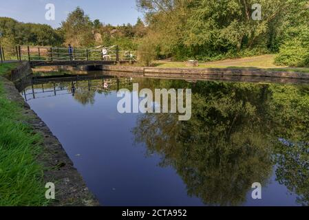 The old canal in Sankey Valley park at Earlestown. The park is a linear country park that runs fom Widnes to Haydock. - Stock Photo