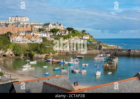 Newquay Cornwall, view in summer of the harbour in Newquay, Cornwall, southwest England, UK - Stock Photo