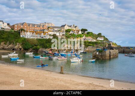 Newquay harbour, view in summer of the harbour in Newquay, Cornwall, southwest England, UK - Stock Photo