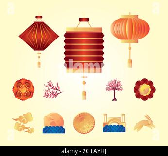 set of icons of the mid autumn festival vector illustration design