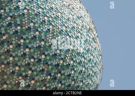 The iconic landmark Kuwait Towers on a close up showing its blue enamel discs in detail.