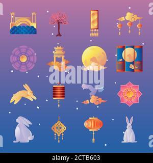 set of icons mid autumn festival vector illustration design