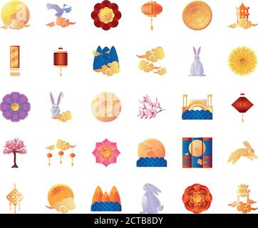 set of icons mid autumn festival in white background vector illustration design