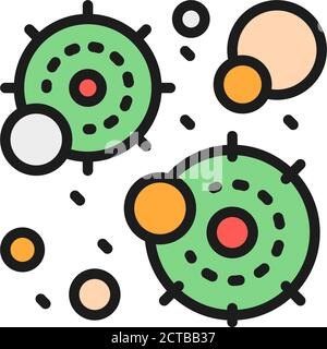 Virus infection, microbe, bacteria flat color line icon. - Stock Photo
