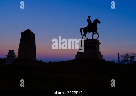 Statue of Major General Winfield Hancock on East Cemetery Hill at Gettysburg, Pa, USA at dusk - Stock Photo