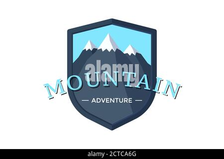 Mountain Adventure shield logo badge for extreme tourism and sport hiking. Outdoor nature rock camping label vector illustration - Stock Photo