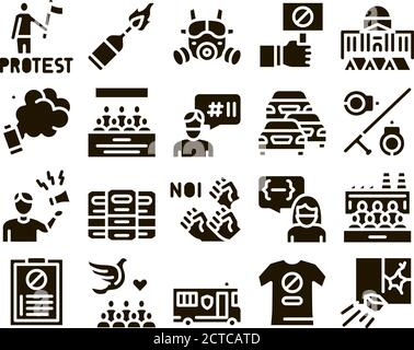 Protest And Strike Glyph Set Vector - Stock Photo