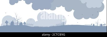 Ancient cemetery in fog background. Old silhouettes crosses and gravestones with destroyed fences.