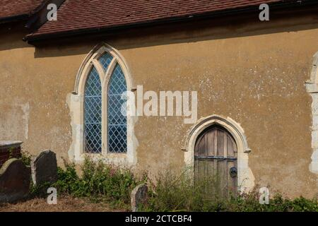 Ramsholt, Suffolk, UK - 22 September 2020: All Saints round tower church beside the River Deben. - Stock Photo