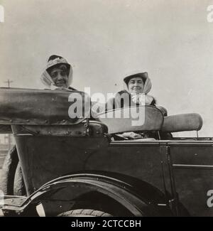 Women in a touring car., 1916-04, Passengers, Automobiles, New York (State), Florida, Long Beach (N.Y