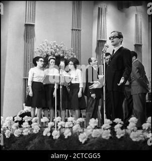 Gino Paoli at the 16th Sanremo Music Festival (1966) --- Sanremo (IM), Gennaio 1966 16° Festival della canzone italiana Nella foto: il cantante Gino Paoli. - Stock Photo