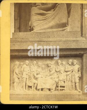 View showing details of bas reliefs at the base of the National monument to the Forefathers., Massachusetts, Plymouth (Mass - Stock Photo