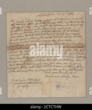 Letter to David Rittenhouse, president of the Council of Safety, text, Documents, 1776, Loxley, Benjamin - Stock Photo