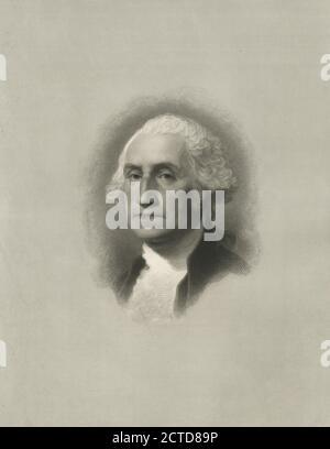 George Washington., still image, Prints, 1879, Smith, Henry W (b. 1828), Stuart, Gilbert (1755-1828 - Stock Photo