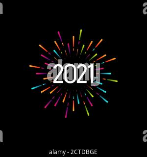 Happy New 2021 Year. Holiday vector illustration with festive typographic composition. Colorful label with 2021 numbers and graphic multicolored firew - Stock Photo