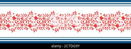 Vector border with damask style wild meadow and striped edging. Stylized red leaves in horizontal rows on white backdrop. Geometric damask style - Stock Photo