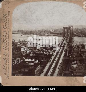 New York City. Brooklyn Bridge from 'World' building, New York, N.Y., New York (State), New York (N.Y.), New York, Brooklyn Bridge (New York, N.Y.), East River (N.Y - Stock Photo