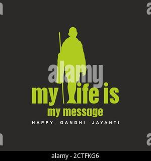 Happy Gandhi Jayanti Banner | Mahatma Gandhi Illustration