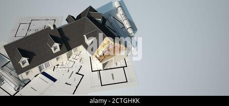 3D rendering of a classical house with an unfinished part on top of blueprints