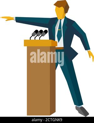 Speaker at podium. Man in suit standing at rostrum with microphones. Business concept -  press conference, presentation, report. Flat design vector il - Stock Photo