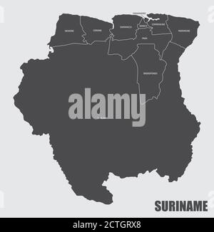 Suriname districts map - Stock Photo