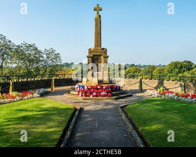 War memorial in the Castle Grounds at Knaresborough in early autumn North Yorkshire England