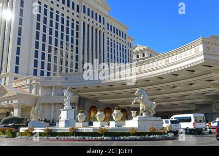 Caesars Palace is a luxury resort and casino on Las Vegas Strip in Las Vegas, Nevada, USA. The hotel is one of the largest landmarks with Roman Empire - Stock Photo