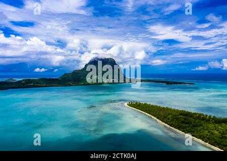 Mauritius, Black River, Tamarin, Helicopter view of Indian Ocean and Le Morne Brabant mountain