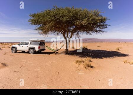 Man resting in hammock hanging between lone desert tree andoff-roadcar