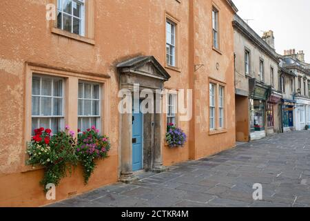 Large coloured house along the pedestrianised high street. Corsham,  Cotswolds, Wiltshire, England - Stock Photo
