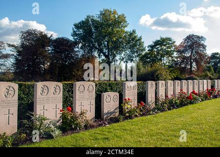 War graves in Beckenham Cemetery in London, UK - Stock Photo