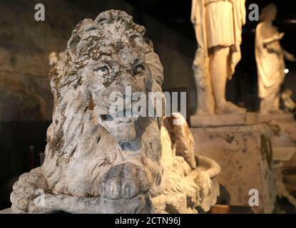 One of a pair of rare Victorian carved Cotswold stone reclining lions ahead of the Cotswold Collection sale at Summers Place Auctions on Tuesday 29th September. The regal stone lion gargoyle from a house near Corsham that was torn down in 1952 is expected to fetch up to £30,000.